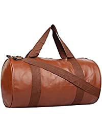 SKYSONS Gym Soft Leather Gym Bag For Men And Women For Fitness - Bag Size 49cm X 24cm X 24cm - Brown Color For...