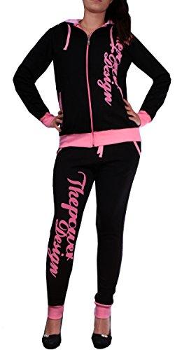 Donna Tuta Jogging   The Power 506  Formazione della tuta in 100% cotone   Formazione della giacca con cerniera   Jogging Pantaloni Con Coulisse E LACCETTO   Sport della tuta con costine   XXS-XXL Nero/rosa s