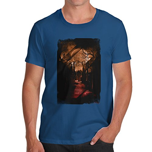 TWISTED ENVY Herren T-Shirt Haunted Halloween Graveyard Print Small Königsblau (Haunted Graveyard Halloween)