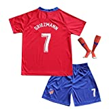 BTA APPAREL 2018/2019 Athetico Madrid #7 Griezmann Kinder Fußball Trikot Hose und Socken Kindergrößen (8-10 Jahre)