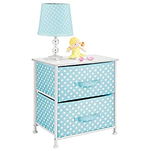 mDesign Chest of Drawers - Children's Bedroom Storage System with 2 Drawers and Flat Top - Nursery Storage Unit with Polka Dot Design - Turquoise/White   5