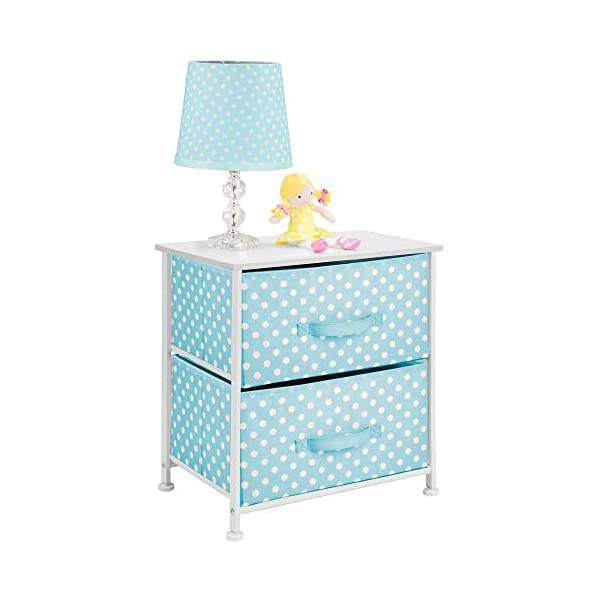 mDesign Chest of Drawers - Children's Bedroom Storage System with 2 Drawers and Flat Top - Nursery Storage Unit with Polka Dot Design - Turquoise/White mDesign SWEET STORAGE: This 2-drawer side table is a must-have accent to complement any child's room. The bright turquoise fabric is adorned with a sweet white polka dot pattern. STORE ANYTHING: The bedroom drawers are a versatile unit and can be filled with anything. Use to store toys, accessories, clothes, books, nappies and more. VERSATILE UNIT: Although the unit works best as bedroom storage, its uses do not stop there. Place in play rooms, nurseries and other child-specific areas of the home. 1