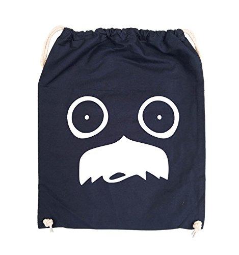Comedy Bags - GESICHT SCHNURRBART - COMIC - Turnbeutel - 37x46cm - Farbe: Schwarz / Silber Navy / Weiss
