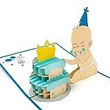 3D-Pop-Up-Karte, Baby & Torte, Geburtskarte blau, Glückwunschkarte zur Geburt eines Jungen - handgemachte Grußkarte, Babykarte Gratulation zur Taufe, Geschenkkarte mit Umschlag für Glückwünsche