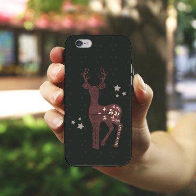Apple iPhone X Silikon Hülle Case Schutzhülle Reh Hirsch Muster Silikon Case schwarz / weiß