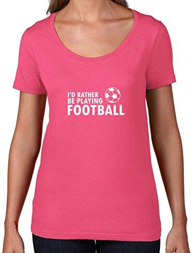 Ich Würde Lieber Fussball Spielen - Damen T-Shirt mit Rundhalsausschnitt- Azalee - S (Fußball Ich T-shirt Spiele)