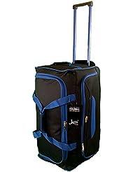 Taille moyenne Sac de voyage 65 L de Voyage valises souples. Noir avec garniture bleue. Bagagerie