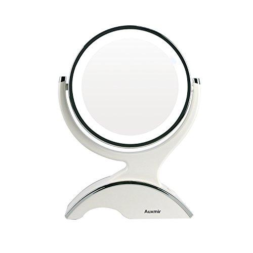 Auxmir Kosmetikspiegel LED Beleuchtet mit 1-/10X Vergrößerung, Schminkspiegel Makeup-Spiegel mit...