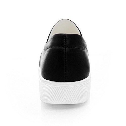 VogueZone009 Femme Couleurs Mélangées Pu Cuir à Talon Bas Fermeture D'Orteil Rond Tire Chaussures Légeres Noir