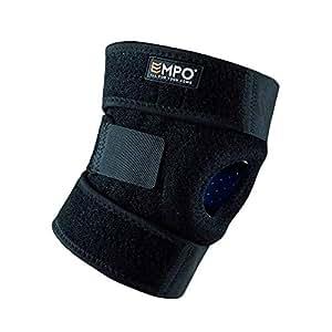 EMPO Attelle de Genou de Support pour Course, Jogging, Exercice, Récupération des lésions - Complètement Ajustable, Unisexe - unique design Antidérapant et fort Velcro bande - Noir