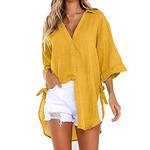 Damen Leinen Bluse Hemd Langarm Button Down Shirt Solide Elegante Büro Tops Oberteile Frauen Hemdbluse Tunika Plain V-Ausschnitt T-Shirt Sommerblusen