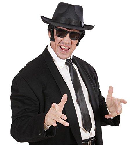 ngster-Look schwarzer Hut + Brille + schwarze Krawatte (Man With No Name Kostüm)