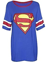 Womens Superman Batman Superhero Logo Print Short Sleeve Round Neckline Stretch Ladies Baseball Long T-Shirt Top Superman Size 12 - 14