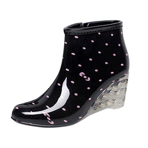 etten Lederstiefel mit Hohen Absätzen Gummistiefeln wasserdichte Gartenschuhe Regen Boots Knöchel Stiefel Schwarz Rosa Etikett 37, EU 37 ()