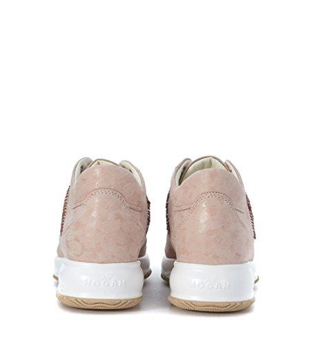 Hogan Sneaker Interactive in Camoscio Rosa Cipria con micropaillettes Rosa