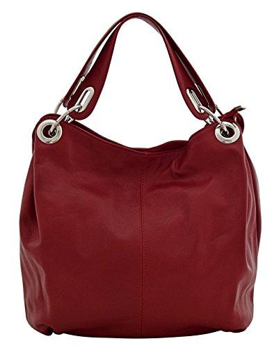 DANA Sacs Femme Shopper Portés Main Vrai Cuir Fabriqué en Italie Qualité Rouge foncé