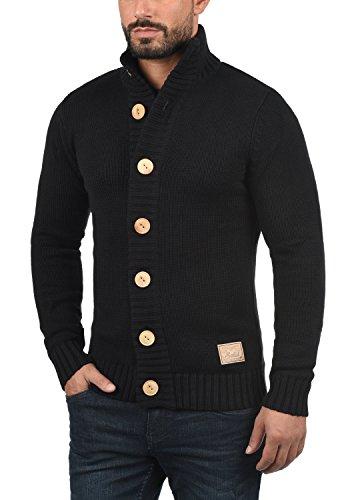 SOLID Pete Herren Strickjacke Cardigan Grobstrick mit Stehkragen aus hochwertiger Baumwollmischung Black (9000)