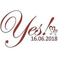 Autoaufkleber Hochzeit - Yes mit Datum Motiv 02