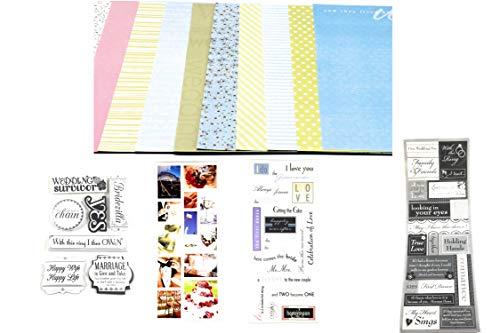 Scrapbook-Set für Hochzeit, Hochzeit, 30,5 x 30,5 cm, Papier und Hochzeitsaufkleber, 79 Stück -