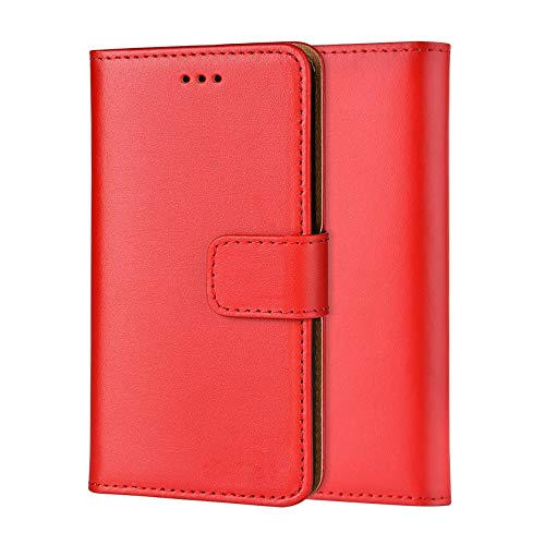 Ameego Premium Genuine Real Leather Flip Wallet Magnetic Kickstand Slim Book Case Cover for Samsung Galaxy Note 3 N9000 N9005 Leather Wallet Book Flip Case Cover (Red) - Note Leather Galaxy 3 Wallet Case