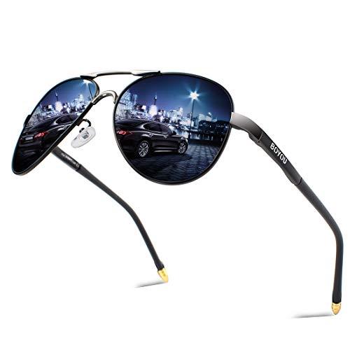 BOYOU Retro Vintage Polarisierte Sonnenbrille Pilotenbrille mit Federscharnier für Herren und Damen UV400 Gläser