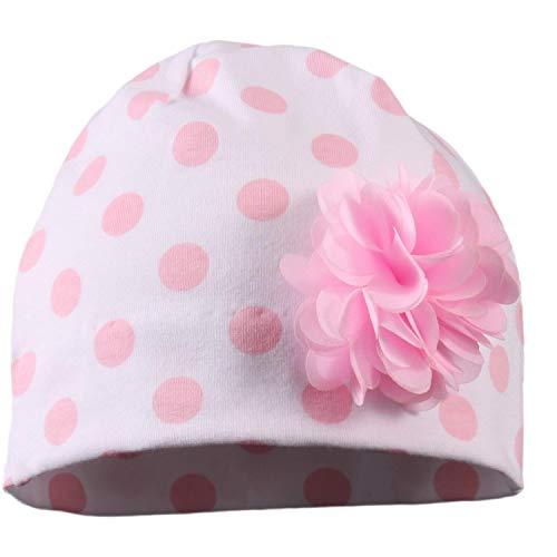 TupTam Baby Mädchen Topfmütze mit Blume Baumwollmütze Jersey, Farbe: Tupfen Rosa, Größe: 0 - 6 Monate
