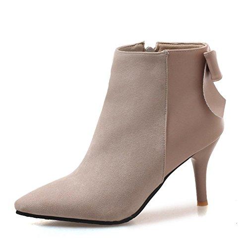 Mujeres Corbata De Moño Tacón Alto Botines Cuero Nobuck Cremallera Zapatos Clásicos,Beige-EU:34=5B(M) US