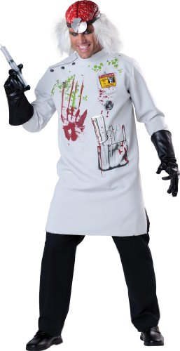 Mad Scientist Mens Halloween Fancy Dress Zombie Horror Adults Costume Outfit New (Large 42 -44