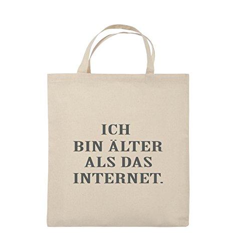 Comedy Bags - ICH BIN ÄLTER ALS DAS INTERNET - Jutebeutel - kurze Henkel - 38x42cm - Farbe: Schwarz / Pink Natural / Grau