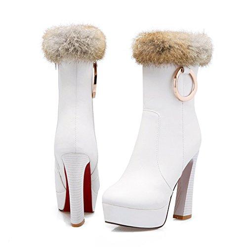 Zq @ Qxin Automne Et Hiver Bague En Métal Bottes Chunky Talon Taille Chaussures Et Bottes Blanc