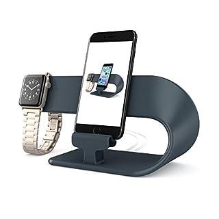 PUGO TOP Stand Ladestander Replacement für Apple Watch Series 4 Series 3 Series 2 Series 1,iPhone,iPad Dock Station(Schwarz)