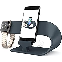 PUGO TOP Stand Replacement for Apple Watch Series 4 3 2 1, Holder Support Silicone Cable de Charge Nightstand Fur iwatch 38mm/40mm & 42mm/44mm, iPhone(2 in 1 Stand- Noir)
