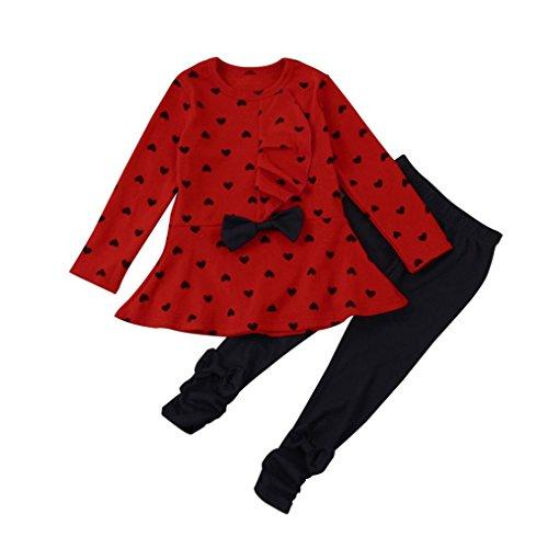 Hffan Kleinkind Säugling Baby Mädchen Mode Lange Ärmel Rundhals Herz-Druck Kleider Bow Top T-Shirt + Schwarz Hose Outfits Set Ausstattungs-Satz-Kleidung 0-3 Jahre alt (12 Monate, Rot) (1 2 Jahre Alt Halloween Kostüme Uk)