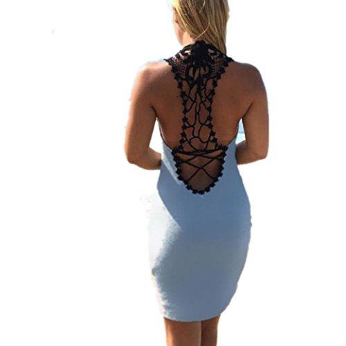 Bekleidung Longra Damen Sommerkleider Lace Ärmellos O Neck Backless Strandkleider Mini Kleid (M, Blue) -