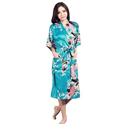 Honeystore Damen lange Kimonos für Damen Bademantel aus Satin mit Pfau und Blüten Morgenmantel Robe Schlafanzug Blau M