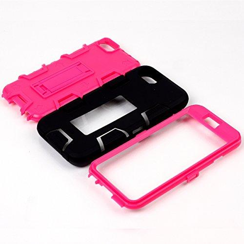 iPhone 6 / 6s Hülle, FindaGift 3 in 1 Hybride Handycover Hartschale Cover Roboter Guard Schutzhülle Innere PC Case Weich Silikon Back Rüstung Ganzkörper-Schutz [Bruchsicher] [Anti-Rutsch] Handytasche  Schwarz + Pink