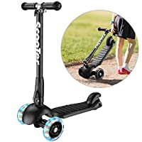 Banne 3 Wheel scooter, Height Adjustable Foldable Assemble Free Smooth Riding Lean to Steer Kick Scooter With Flashing PU Wheel Supports 176 lb Weight(Black)