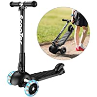 Banne 3 Wheel Scooter Height Adjustable Foldable Assemble Free Smooth Riding Lean to Steer Kick Scooter With Flashing PU Wheel