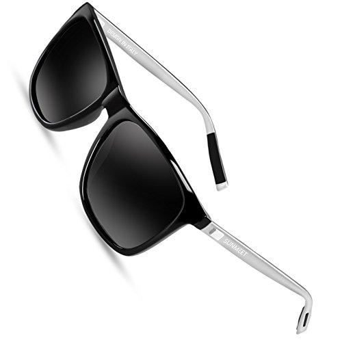 SUNMEET Sonnenbrille Herren Polarisierte für Männer Jahrgang Retro Sonnenbrille Herren Unisex UV400 S1001(Schwarz/Silber)