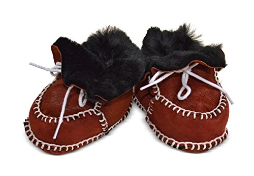 Wildash London , Baby Jungen Krabbelschuhe & Puschen braun glitter brown suede & white shearling Size 3-12 months terracotta suede & black shearling