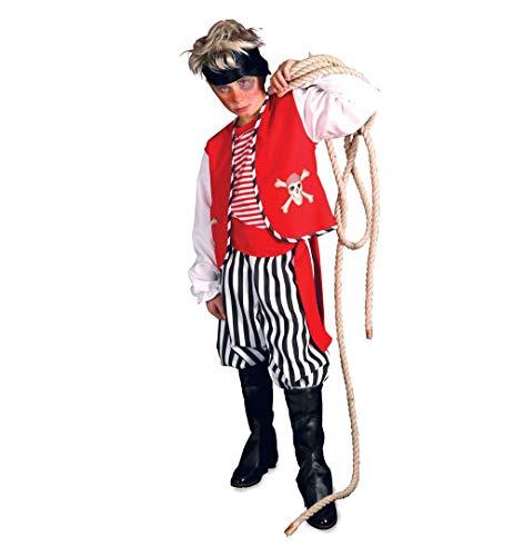 KarnevalsTeufel Kinderkostüm Pirat 4-teilig Hose Weste Gürtel und Aufenklappe in rot-schwarz-weiß Seeräuber Freibeuter (152) (Holzbein Piraten Kostüm)