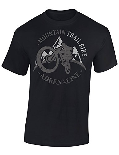 T-Shirt: Mountain Trail Bike Adrenaline - Fahrrad Geschenke für Damen & Herren - Radfahrer - MTB - BMX - Biker - Rennrad - Tour - Outdoor - Downhill - Dirt - Freeride - Trial - Cross - Fat (L)