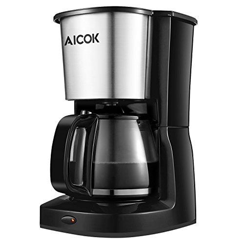 Aicok Cafetière à Filtre, Cafetière Électrique avec Verseuse en Verre, 10 Tasses, Sans BPA, Inox, Couleur Noire