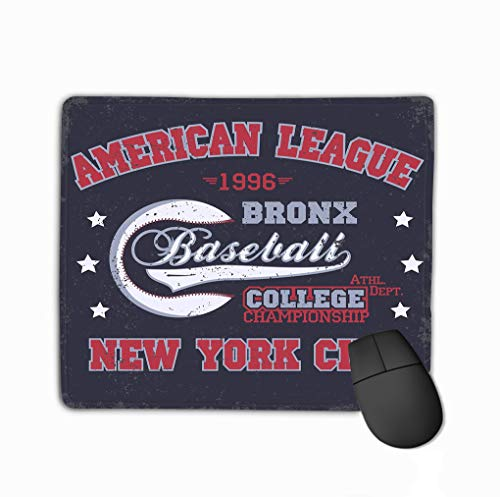 Non-Slip Thick Rubber Large Mousepad 11.81 X 9.84 Inch Baseball Print Fashion Typography Stamp New York Sport Design Athletic Apparel usa original wear