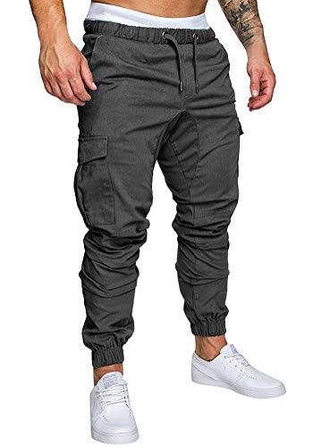Minetom pantaloni uomo moda cargo con coulisse e tasche laterali trousers sport pants elastici casuale maschi primavera autunno grigio scuro medium
