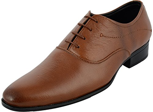 Auserio Men's Tan Leather Formal Shoes - 10 UK/India (44 EU)(SS-206)