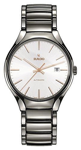 Rado Men's True 40mm Grey Ceramic Band & Case Sapphire Crystal Automatic Silver-Tone Dial Watch R27057112