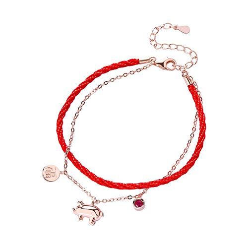 NIU S925 Sterling Silber Kleidung Transfer Schwein Rot Handgewebt Bündel Damen Mode Einfach Klammer Y. / Als zeigen/Einheitlicher Code