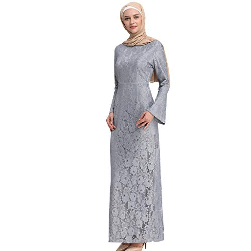Scrolor Muslim Trompete Schal Ärmeln schlank langärmelige Mode Spitze Bestickt Kleid für Party Bankett Festival Womens tragen(Grau,L)