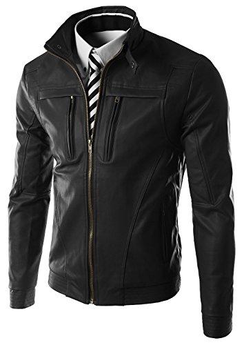 YYZYY Herren Vintage Stand Collar Zipper Faux Leder Moto Biker Jacken Mäntel Mens PU Leather Jacket (EU/DE Medium, Black) (Leder-moto-biker-jacke)